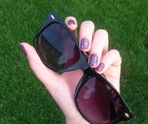 nails, sunglasses, and purple image