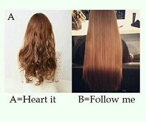 hair, heart, and follow image