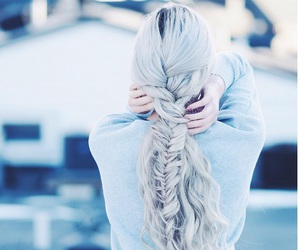 blonde, braid, and pink hair image