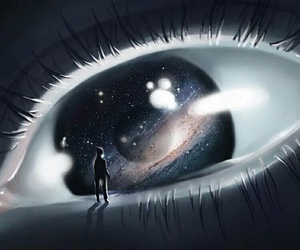 eye, galaxy, and universe image