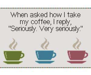 coffee, cross stitch pattern, and funny cross stitch image