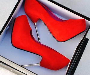 red, high heels, and sexy image