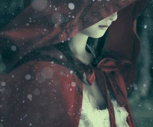 red, red riding hood, and snow image