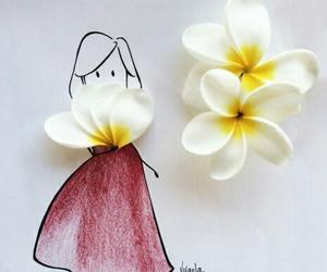 dress, flores, and vestido image