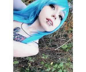 blue hair, colorful hair, and cute girl image