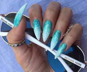 nails, bluenails, and glitternails image