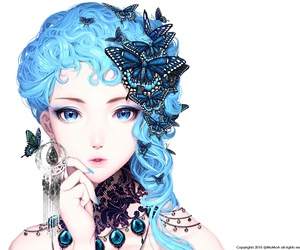 butterfly, anime, and girl image