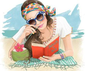 drawing, girl, and beach image