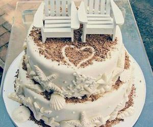 cake, beach, and wedding image