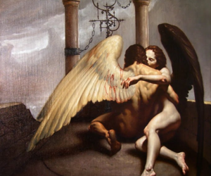 angel, couple, and embrace image