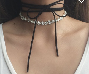 white t-shirts, choker necklaces, and black choker necklaces image