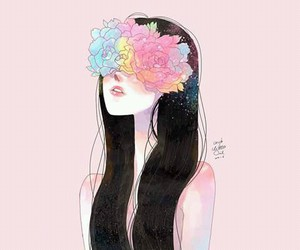 girl, pink, and Ilustration image