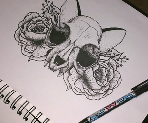 art, black and white, and skull image