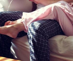 love, couple, and pajamas image