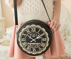 alice in wonderland, bag, and clock image