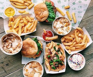 food, hamburger, and fries image