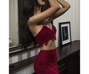 girl, red, and elegant image