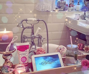 bathroom, candle, and glamour image