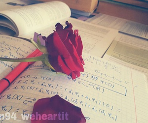 books, exams, and flower image