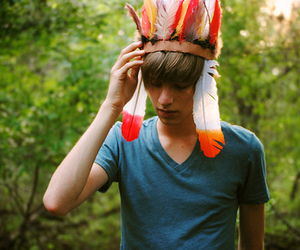 boy, feather, and indian image