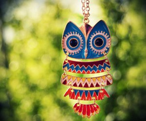 owl, necklace, and colorful image