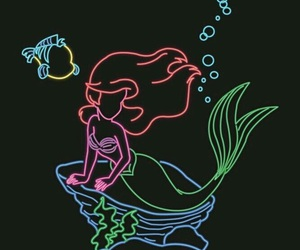 disney, ariel, and neon image