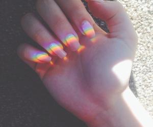 nails, rainbow, and grunge image