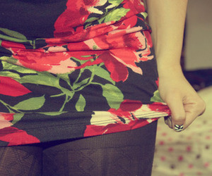 skirt, floral, and girl image