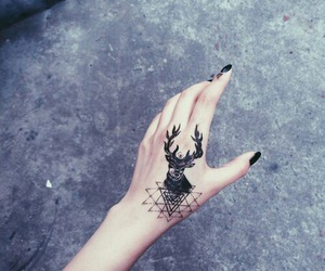 tattoo, hand, and black image
