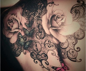 ink, style, and rose image