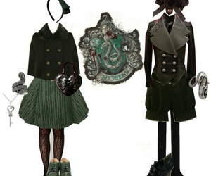 slytherin, girls, and vitorian clothes image