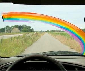 rainbow, car, and road image