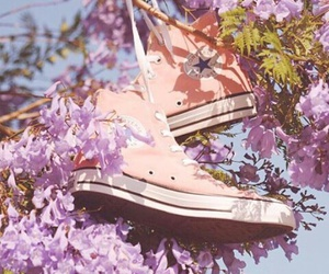 converse, flowers, and pink image