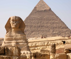 sphinx, giza pyramids, and egyptian museum image