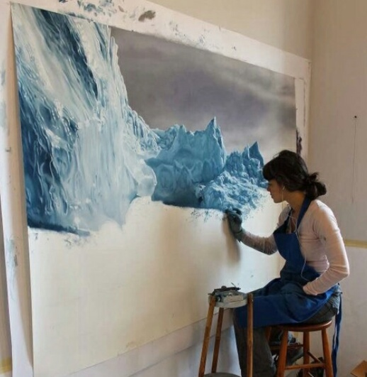 art, mountain, and paint image