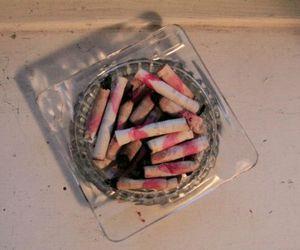 cigarette, smoke, and lipstick image