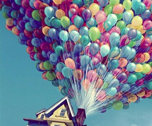 baloon, house, and up image