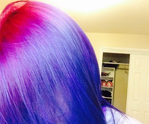 hair, purple hair, and pink and purple hair image