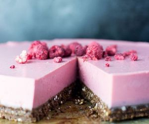 raspberry, pink, and cheesecake image