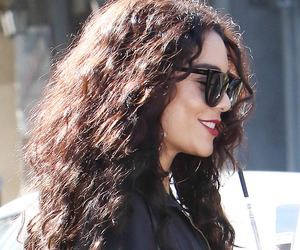 curly hair, sunglasses, and red lipstick image