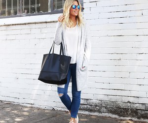 bag, cardigan, and clothes image