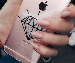 iphone, nails, and diamond image