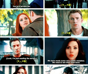 black widow, captain america, and steve rogers image