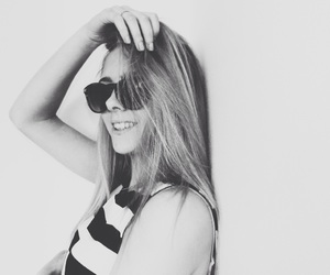 black and white, smile, and blonde hair image