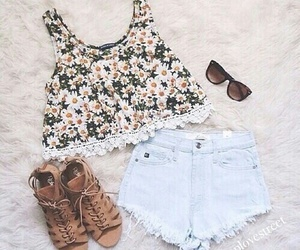 flowers, shirt, and style image