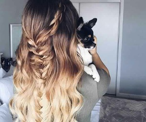hair, girl, and dog image