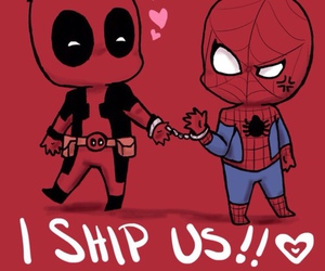 deadpool, spiderman, and gay image