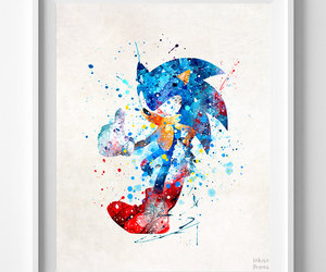 etsy, sonic, and watercolor print image