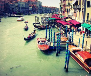 boat, colorful, and venice image