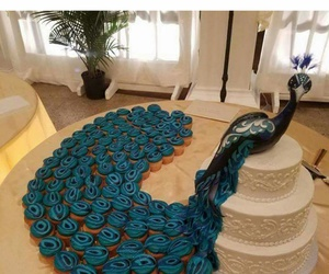 cakes, peacock, and wedding image